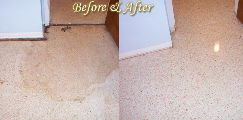 Lcs tampa terrazzo travertine marble floor restoration l for How to remove stains from terrazzo floors